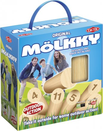Mölkky in a cardboard box with handle